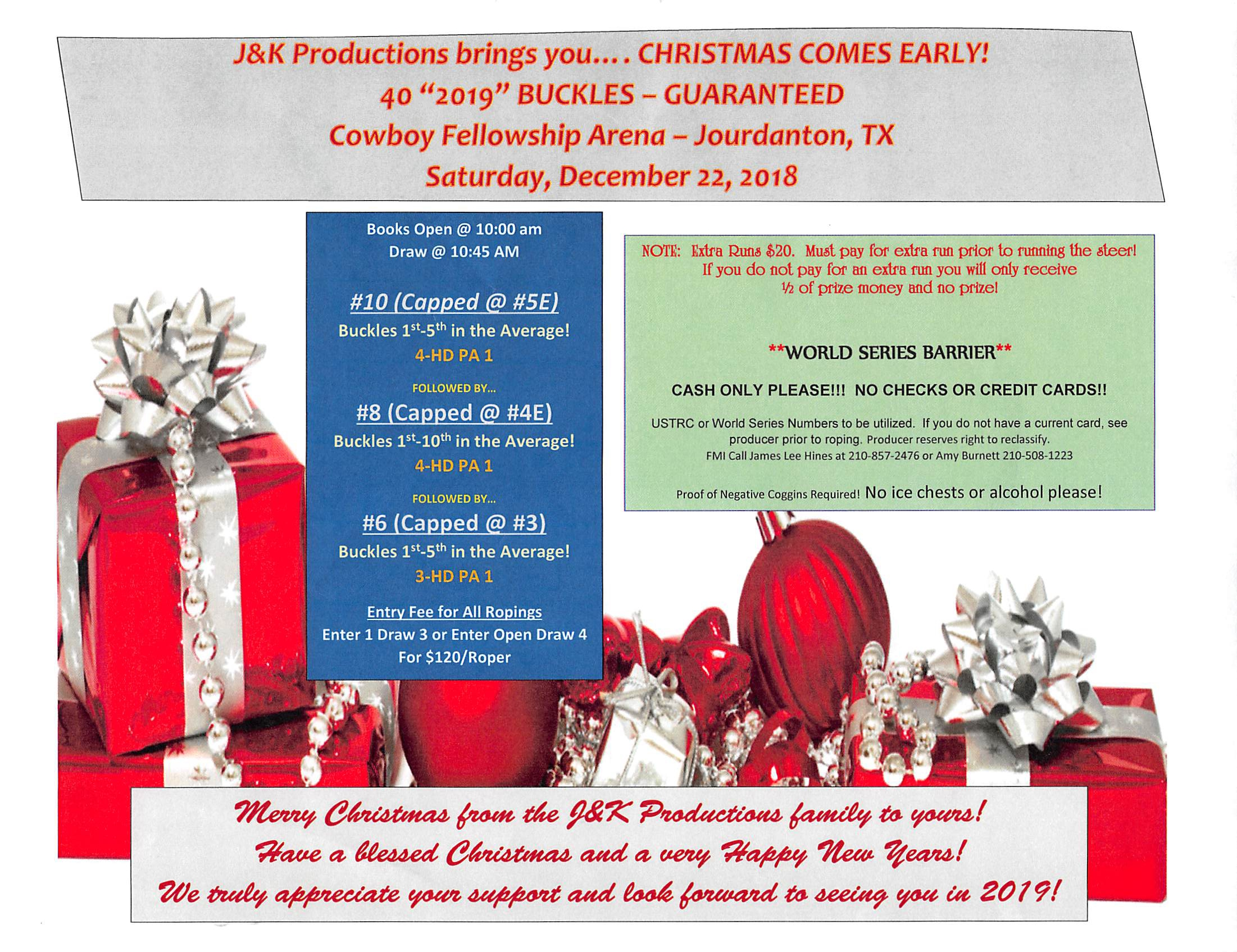 J&K Productions - Christmas Comes Early - 40 2019 Buckles - #10, #8 ...